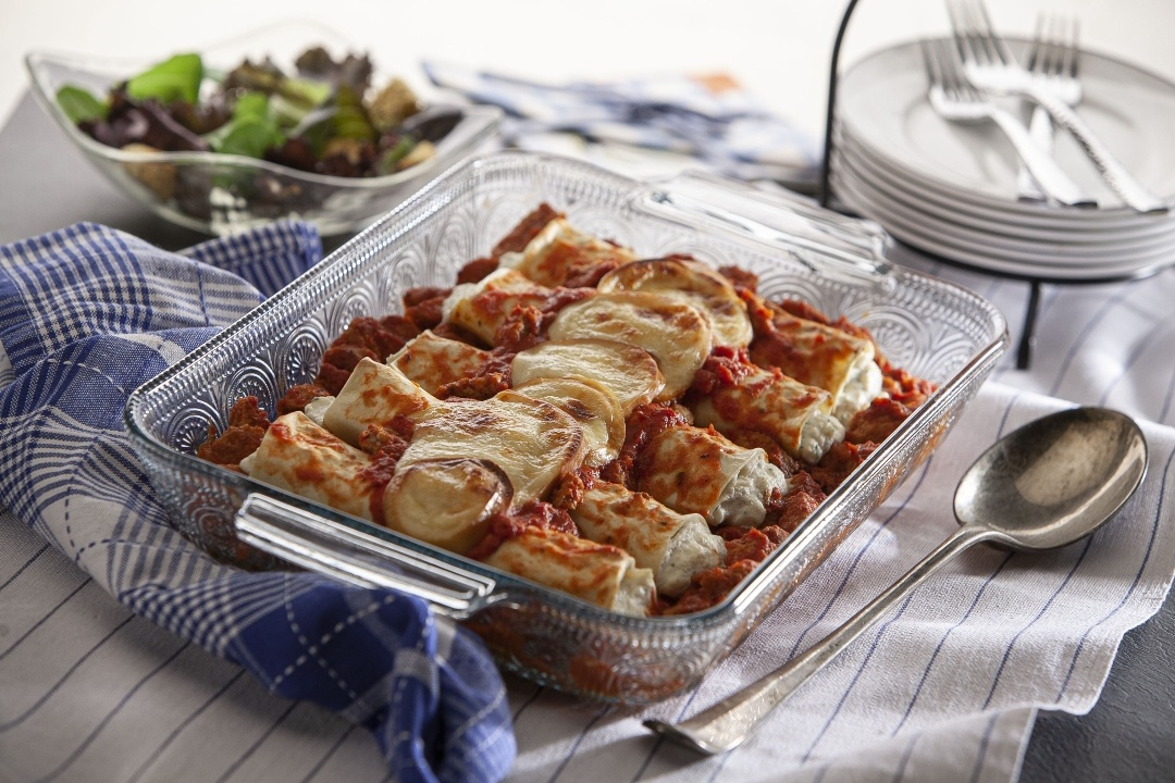 Baked Manicotti with Italian - Style Meatballs and Smoked Mozzarella
