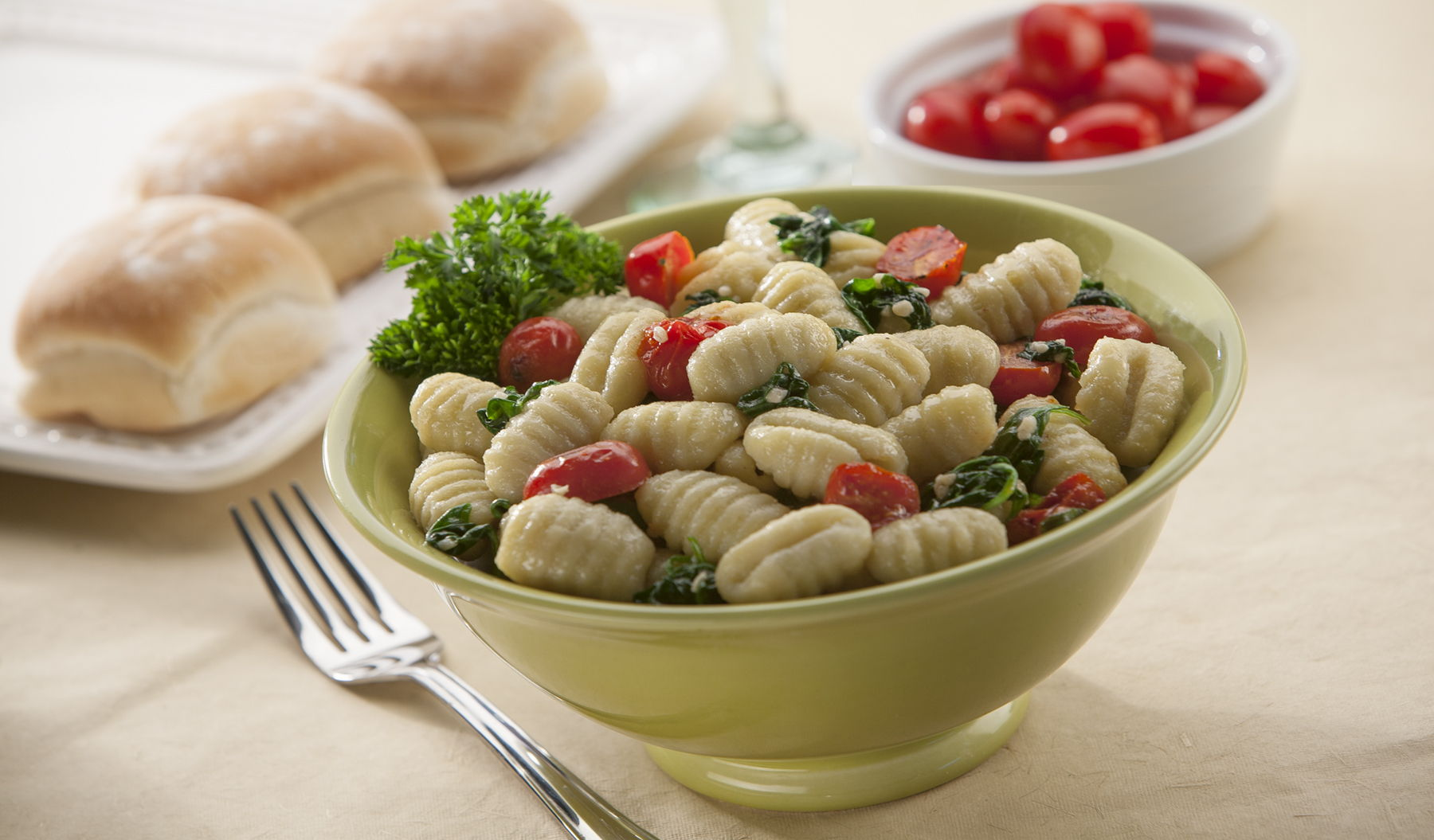 Gnocchi with Spinach, Tomatoes and Parmesan
