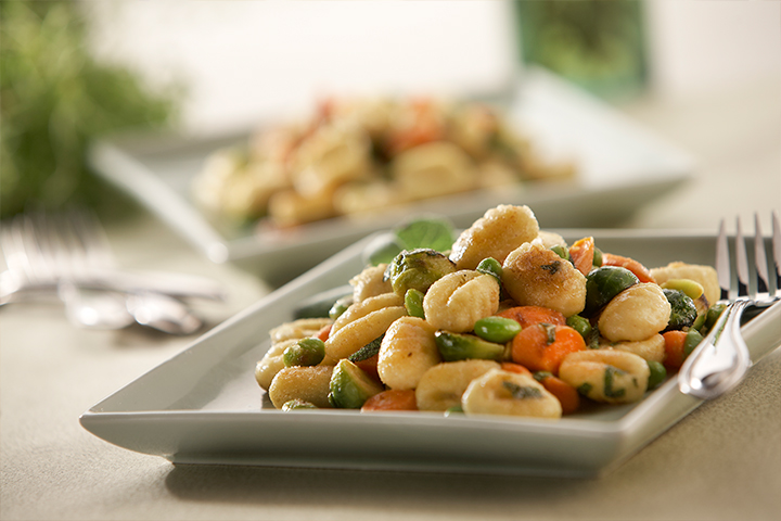 Gnocchi with Edamame, Carrots, and Brussels Sprouts