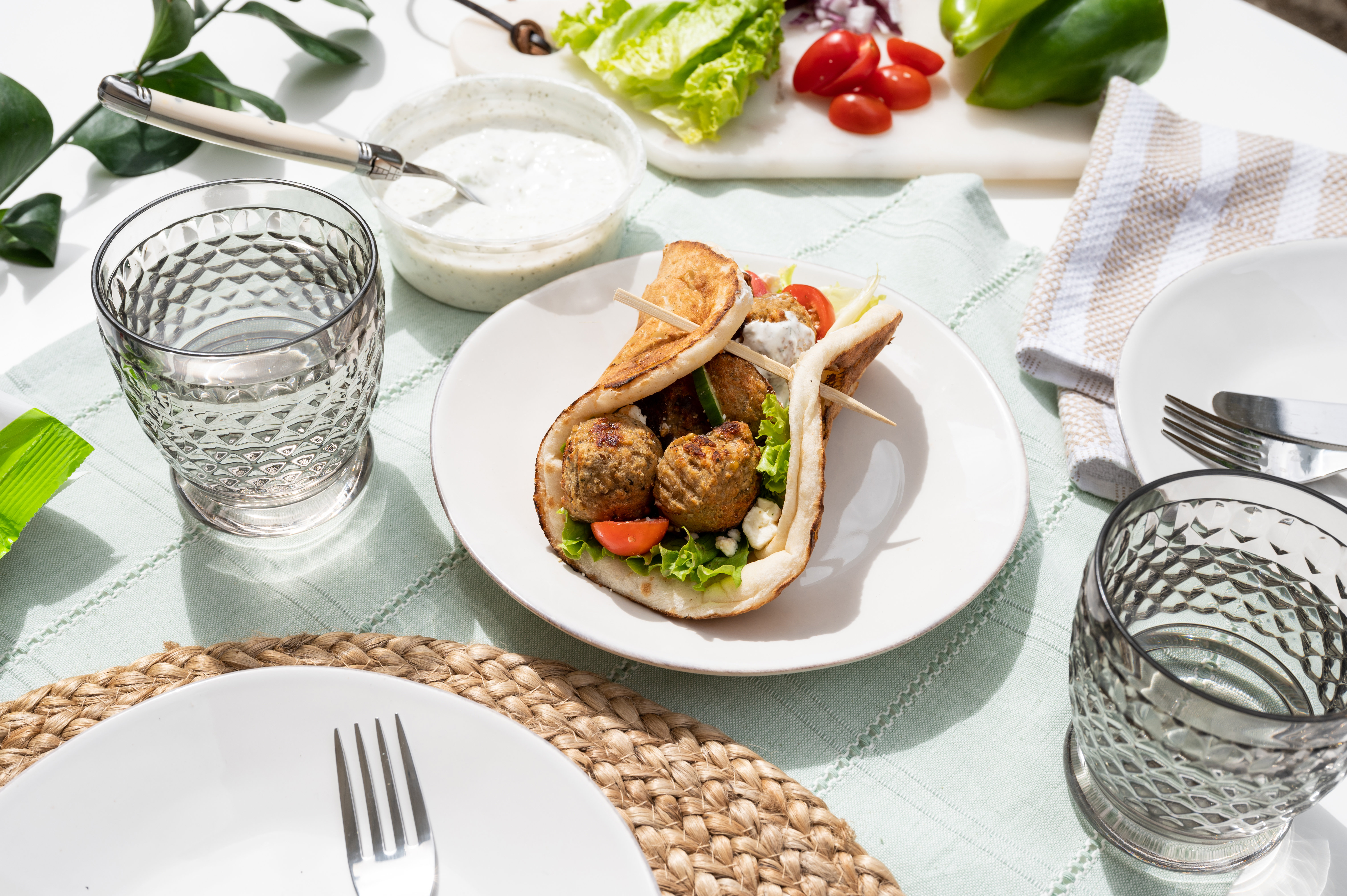 Greek Turkey Meatball Gyro with Tzatziki