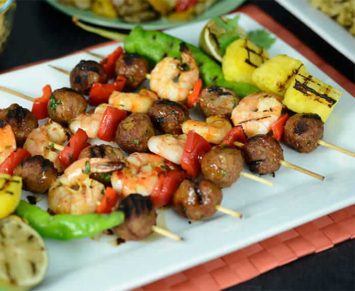 Grilled Pineapple Chorizo Meatball and Shrimp Skewers