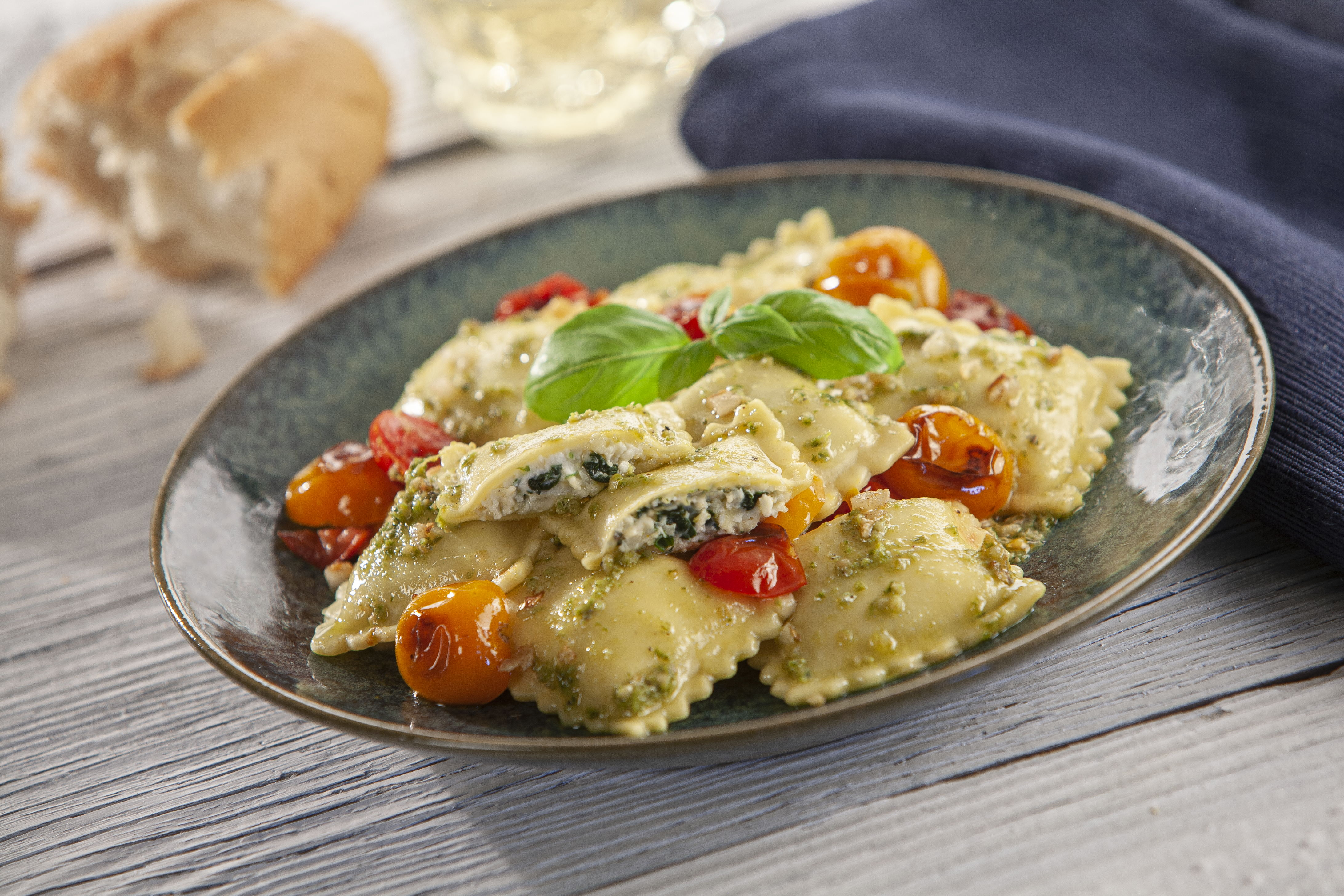Spinach and Cheese Ravioli with Pesto and Cherry Tomatoes